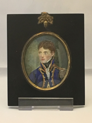 Antique Portrait Miniature Painting Georgian Naval Officer
